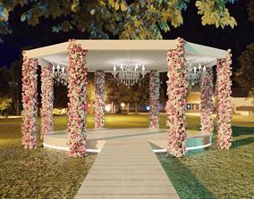 Classic outdoor wedding pergola 3D model