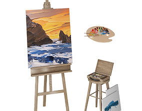 Easel with Canvas 3D