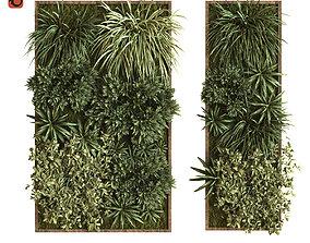 green wall vertical plant set 036 3D model