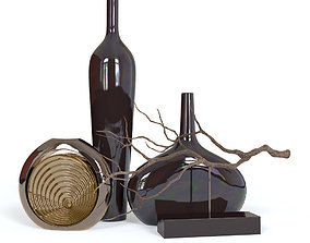 3D model Black Vases and Decorative Branch