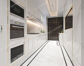 3D model Modern kitchen and dining room with wood floor