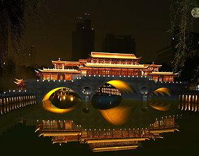 3D China ancient birdge - AnShun bridge night scene