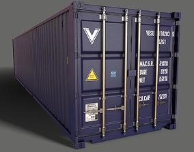 PBR 40 ft Shipping Cargo Container - Blue Dark 3D asset
