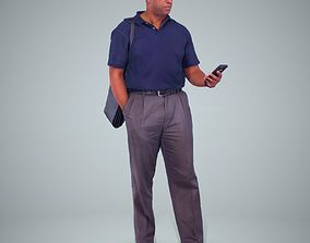 Casual Man Standing with Phone 3D model