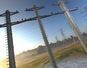 Steel power pole with ladder - Objekt 3D model