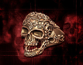 skull ring jewelry heavymetal 3D print model