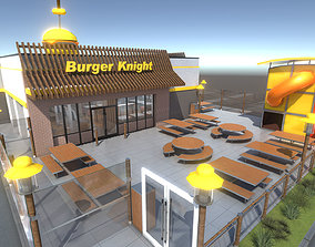 3D asset game-ready Complete Fast Food Restaurant