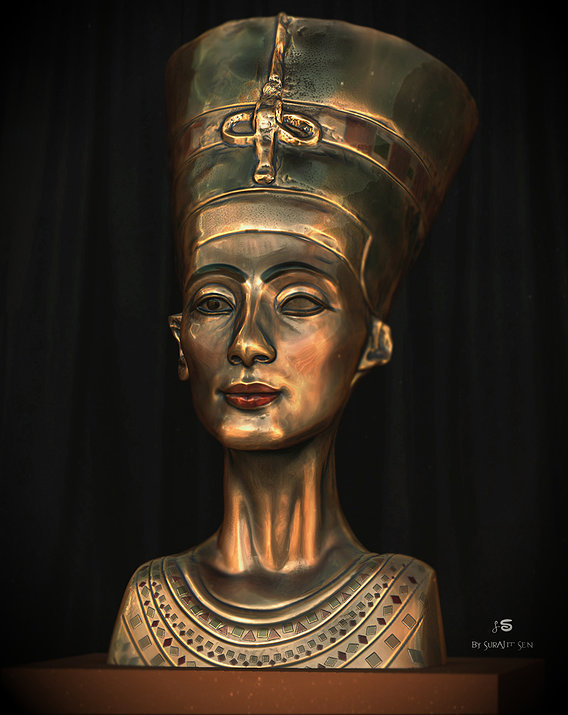 Nefertiti- Digital Sculpture by Surajit Sen