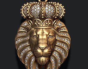 3D printable model Lion pendant with diamonds and closed 1