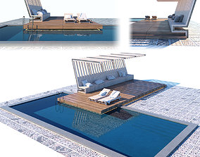 3D Pool with terrace and canopy