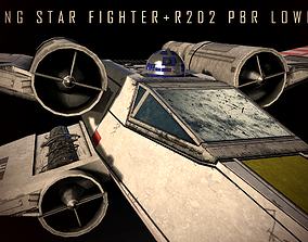 3D asset X-Wing Fighter with R2D2 PBR-LOWPOLY