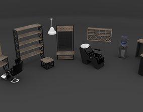 3D Barbershop furniture set