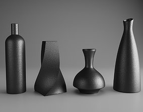 3D Modern Black Ceramic Vase