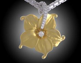 Beauty Flower Pendant Diamond - Yellow 3D print model 3