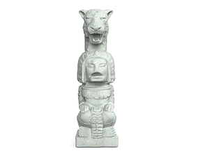3D print model Mayan statue with jaguar head stl
