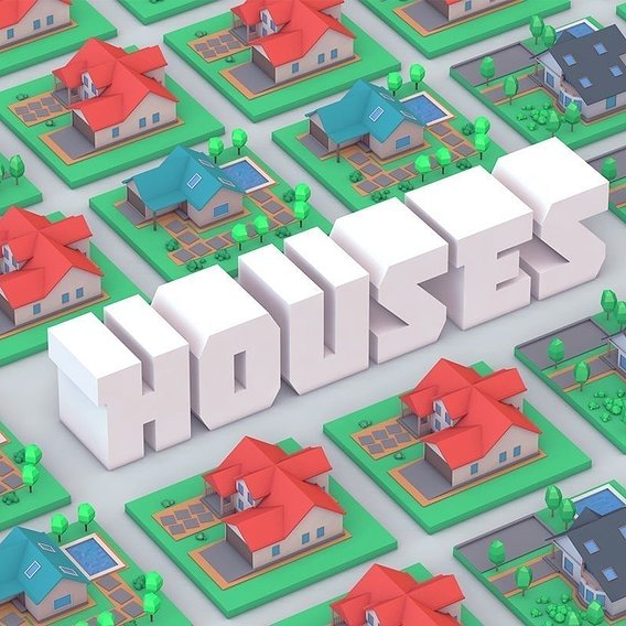 Low Poly Houses 3D Model