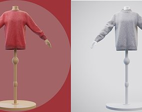 2 knit sweaters on mannequin - cardigan sweater 3D