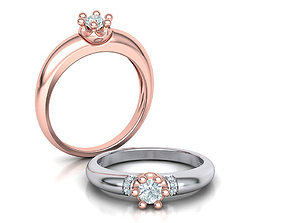 Promise Solitaire ring 4mm Stone Own design 3dmodel