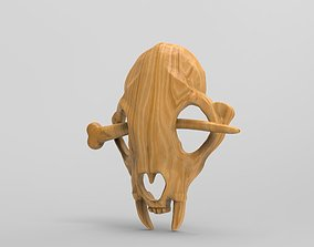 3Dmodel STL CNC Hairpin Skull in primeval style