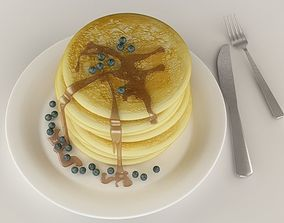 3D model Pancakes with blueberries and maple syrup