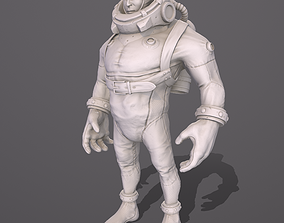 3D asset VR / AR ready Diver stylized