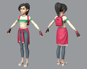 Cartoon teen girl 3D asset