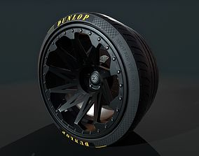 3D asset Wheel for supercars with Dunlop and TOYO tires