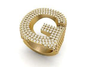 G Letter Diamond Ring 3D print model men