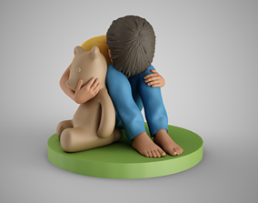 Sad Boy Head on Knees 3D print model