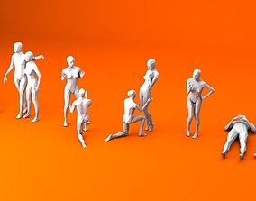 10 People in Love Minimalist 3D model