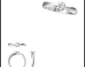 Art deco solitaire ring cad ring design 3D print model