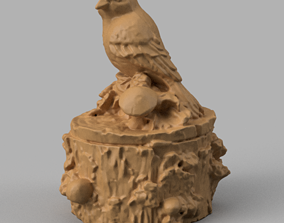 3D printable model oiseau sur tronc