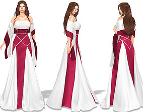 Medival Strapless Ruffled Long Gown With Off 3D model 2