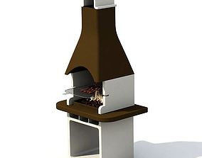 3D Decorative Brown And White Garden Grill