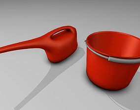 3D asset Red Bucket and Watering Can