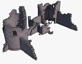 3D asset low-poly Castle Ruins
