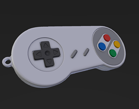 Super Nintendo Joypad Keychain 3D print model