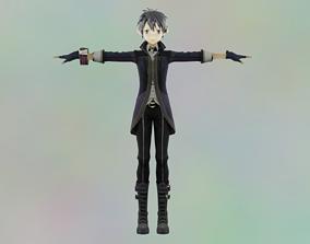 3D asset Cute Anime Kirito Fantasy Model rigged Animated