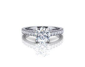 womenring 3D printable model Solitaire Ring 2