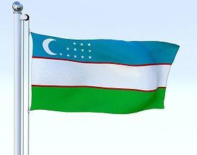 Animated Uzbekistan Flag 3D asset