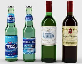 Glass bottles 3D model red