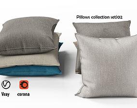 3D model Pillows set 02 bed