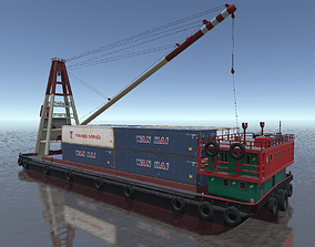 low-poly Crane barge with container cargo 3d low-poly