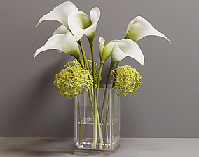 Calla and Lily in a Vase 3D