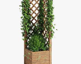 Square Planter With Lattice 2 3D model plant
