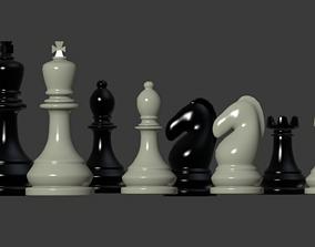 Chess Pieces 3D model VR / AR ready