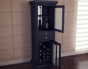 Meridian Wine Curio in Espresso 3D model
