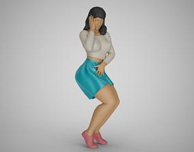 Girl Against Wind 3D printable model