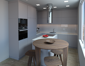Kitchen modern grey 3D