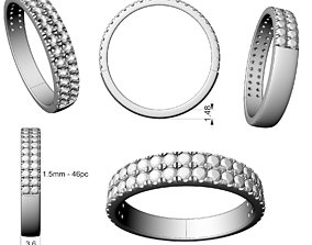 Two rows wedding ring 3D print model